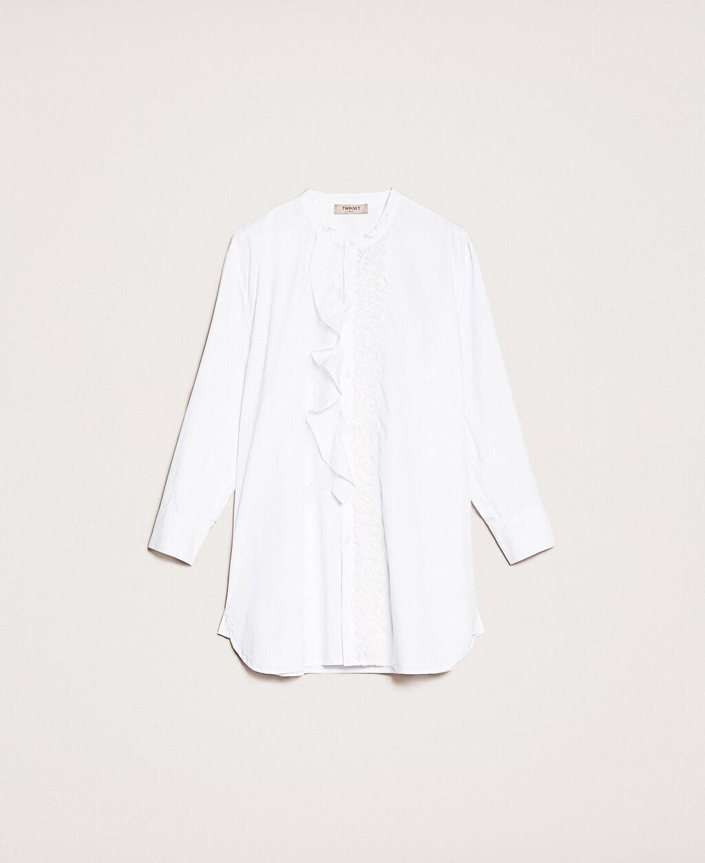 Poplin shirt with frills