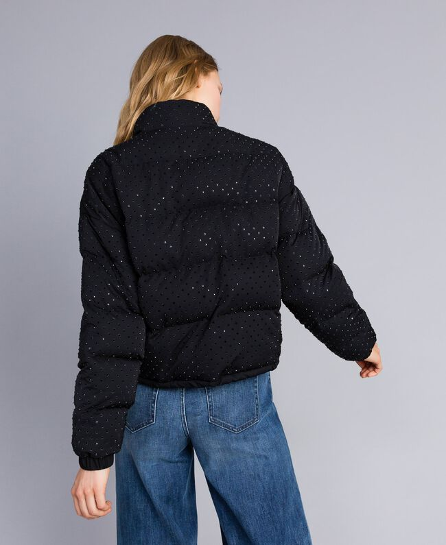 Short padded jacket with rhinestones Black Woman TA82CN-03