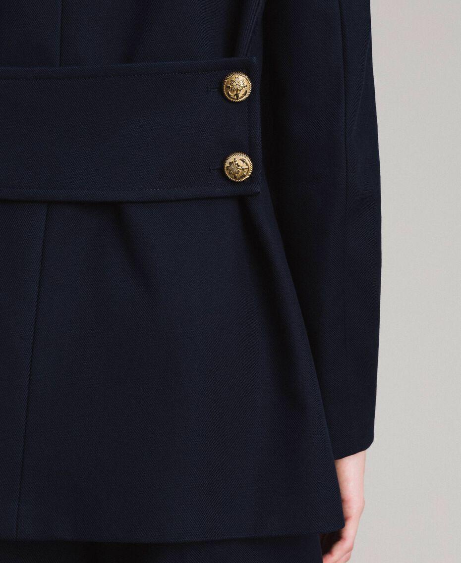 Caban en laine à double boutonnage Bleu Foncé Femme 191TP2510-05