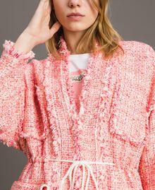 """Blouson oversize en tweed orné de franges Multicolore Bouclé Rose """"Rose Sauvage"""" Femme 191TP2522-04"""