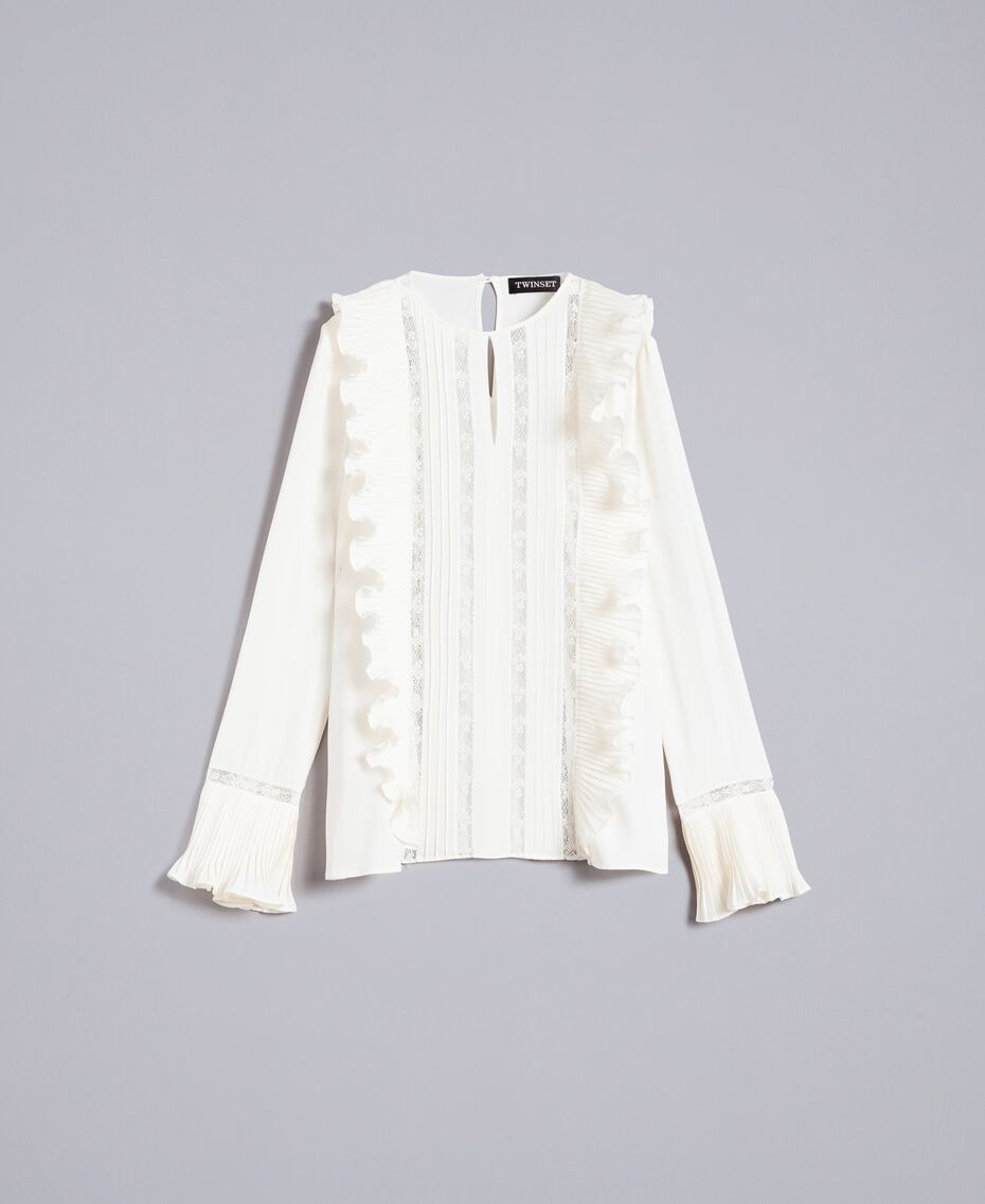 Silk blend blouse with ruches and lace White Snow Woman TA823Q-0S