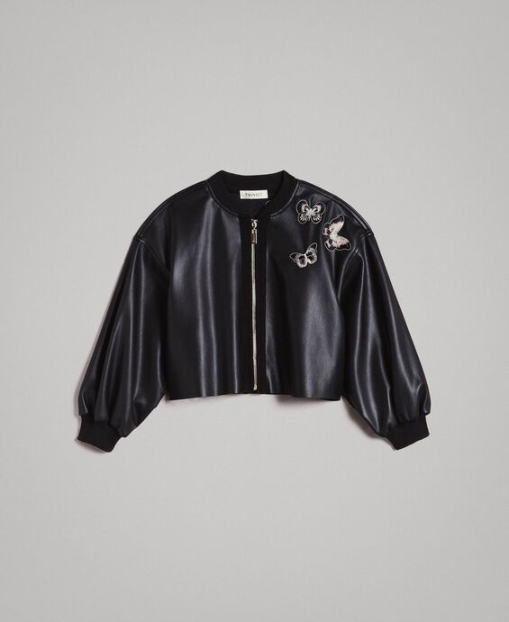 Faux leather bomber jacket with butterflies