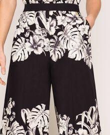 Pantalon cropped en popeline florale Imprimé Fleur Graphique Noir Femme 201TT2316-05