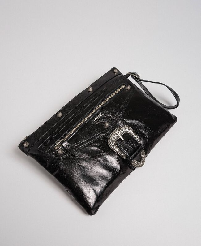 Leather pochette with decorative buckle Black Woman 192TO823H-01