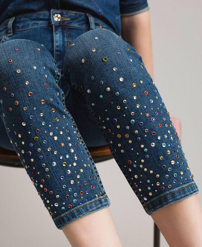 Skinny jeans with fadeout rhinestones Denim Blue Woman 191MP2421-01