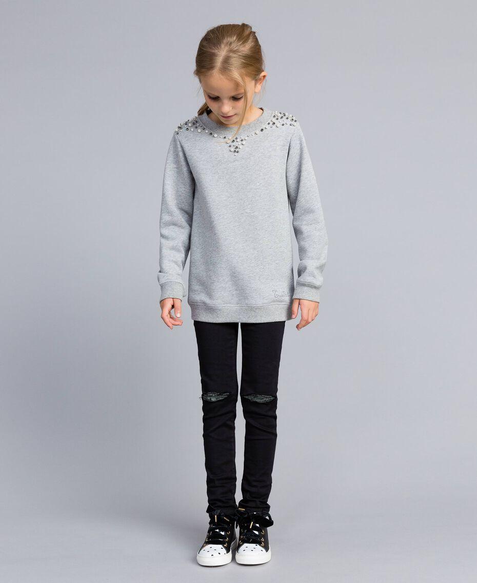 Sweatshirt aus Baumwolle mit Zierperlen und Strass Hellgrau-Mélange Kind GA82V1-02