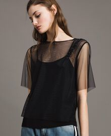 Tulle blouse with patch embroidery Black Woman 191MP2131-02