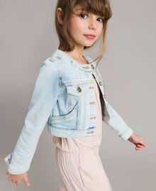 Denim jacket with rhinestones Bleach Denim Child 191GJ2471-02