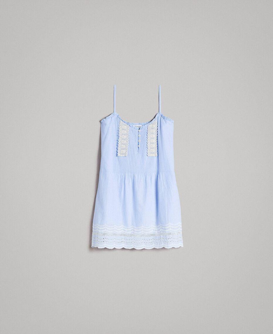 """Top en voile avec broderie anglaise Bicolore Bleu Clair """"Atmosphère"""" / Écru Femme 191ST2110-0S"""