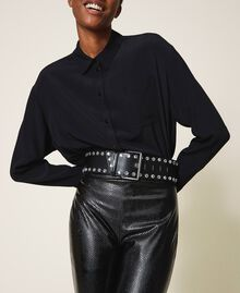 Leather belt with bezels and logo Black Woman 202TA4344-0T