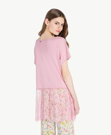 Maxi T-shirt with lace Hydrangea Pink Woman PS82HD-03