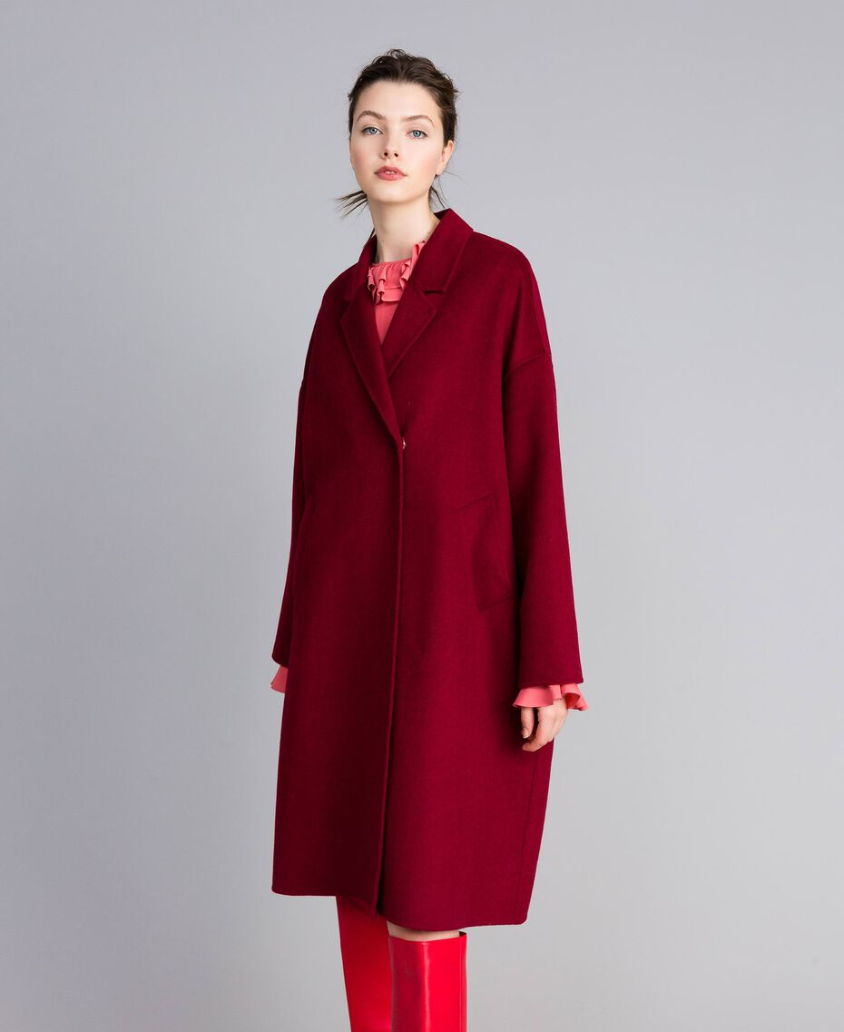 Cappotto lungo in panno double Bordeaux Donna PA8262-02