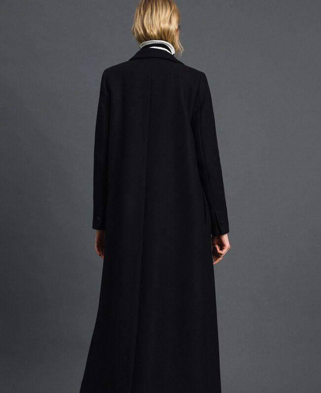 Langer Mantel aus Tuch Schwarz Frau 192TP2313-03