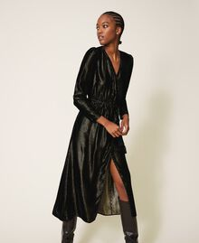 Long velvet dress Black Woman 202TT2160-02