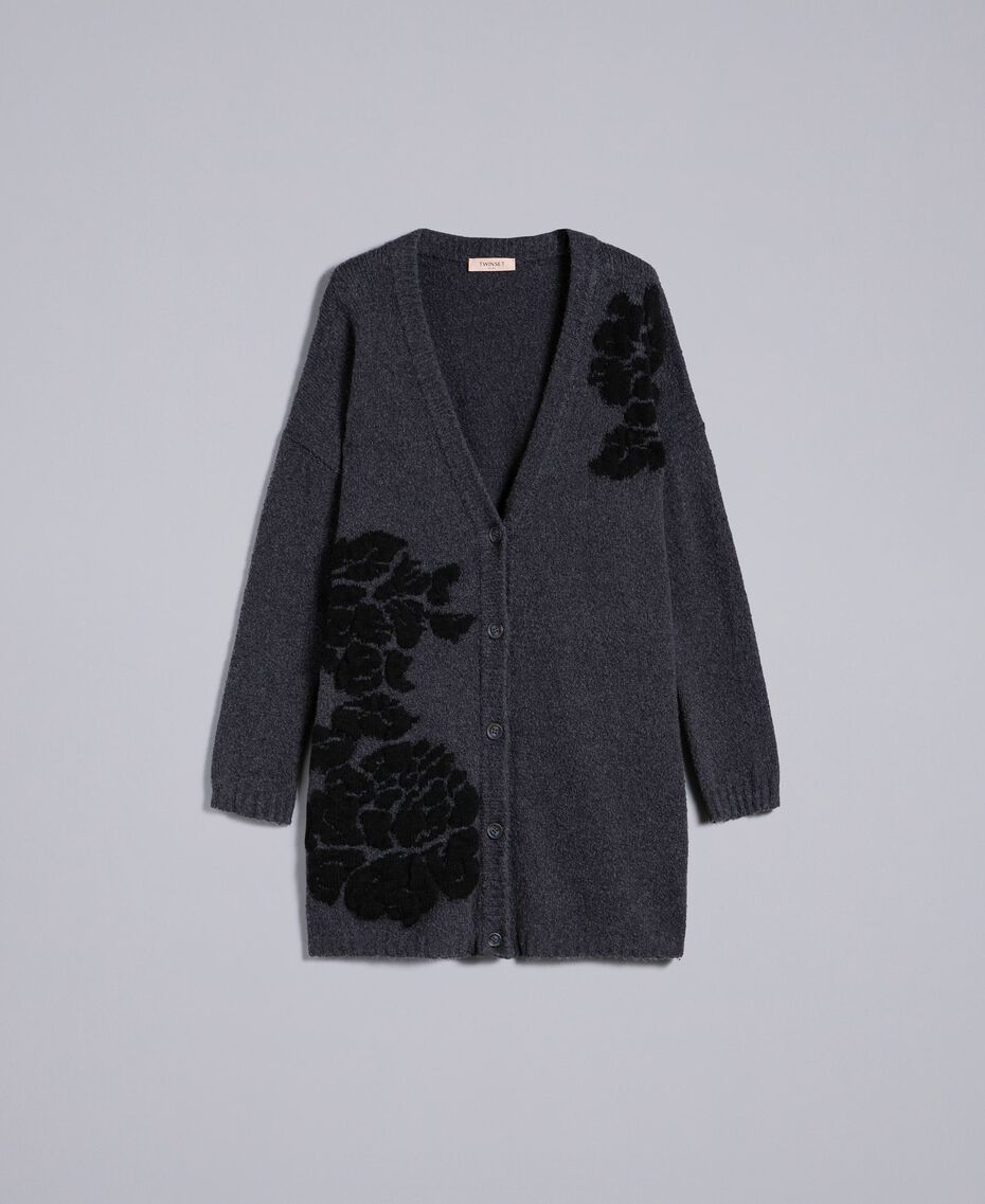 Maxi cardigan with floral inlay Bicolour Anthracite Grey Black Flower Woman TA8391-0S