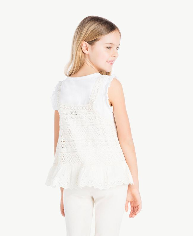 """T-shirt and lace top Two-tone """"Papyrus"""" White / Chantilly Child GS82Z2-04"""