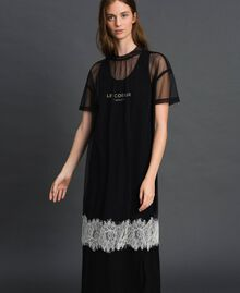Midi dress with lace flounce and logo Black Woman 192ST2194-02