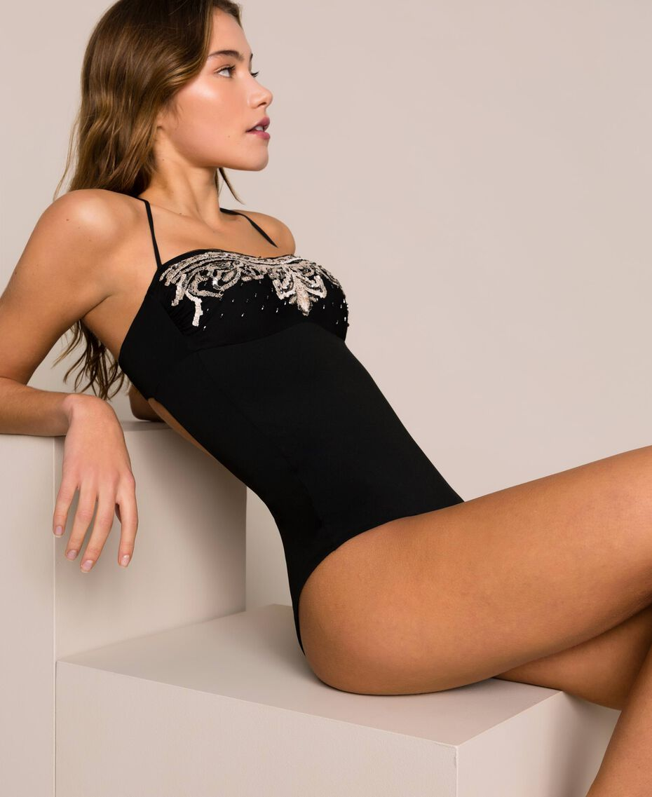One-piece swimsuit with embroidery Black Woman 201LBM5ZZ-01