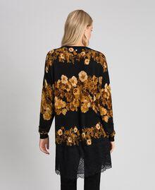 Maxi maglia in lana stampata con pizzo Stampa Mix Righe Fiore Barocco Nero Donna 192TT3342-04
