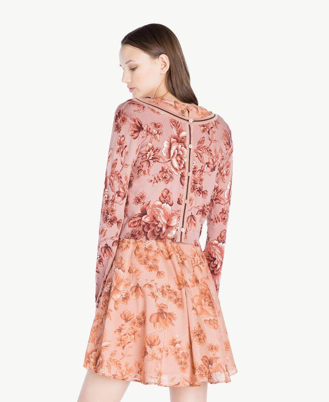 Cardigan-Pullover mit Print Porzellanprint Antikrosa Frau SS83HP-04