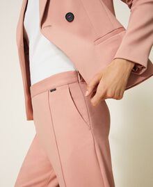 "Trousers with folded hem and stitching ""Vintage"" Pink Woman 202ST2023-05"