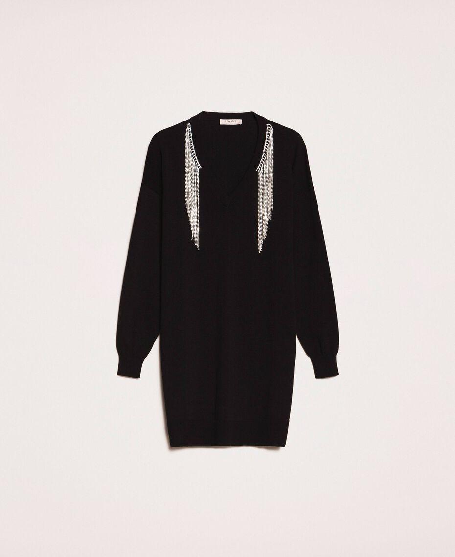 Robe décorée de franges en strass Noir Femme 201TP3080-0S