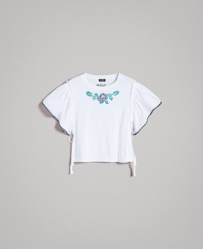 T-shirt with cross stitch embroidery White Woman 191MT2400-0S