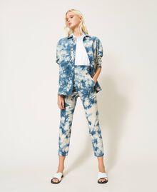 Pantalon taille haute tie & dye Tie Dye Blanc «Neige» / Bleu Femme 211TT2542-05