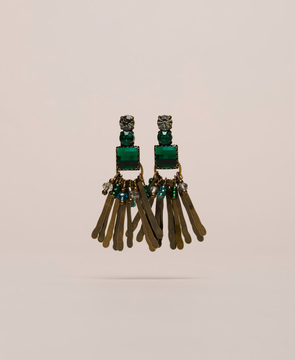 Pendant earrings with bezels and beads