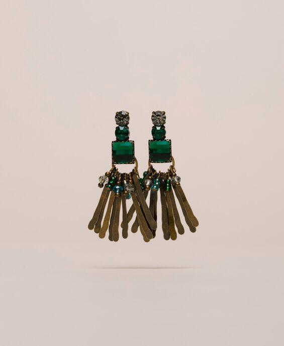 Boucles d'oreilles pendantes avec cabochons et perles