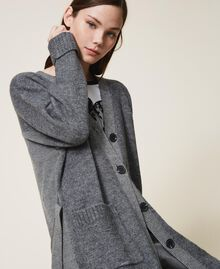 Manteau en maille avec boutonnière et ceinture Gris moyen chiné Femme 202ST3102-05