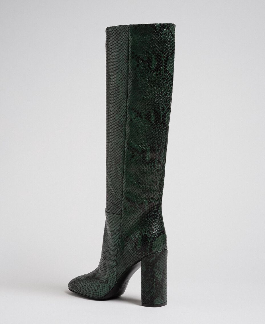 Leather high boots with animal print Dark Green Python Print Woman 192TCP108-03