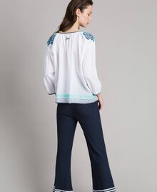 Flounced blouse with cross stitch embroideries White Woman 191MT2062-03
