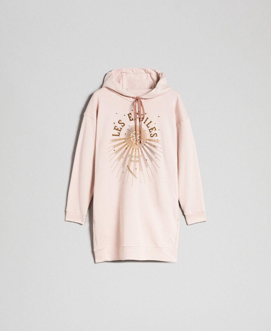 Oversize sweatshirt with print in front Bud Pink Woman 192TT2130-0S
