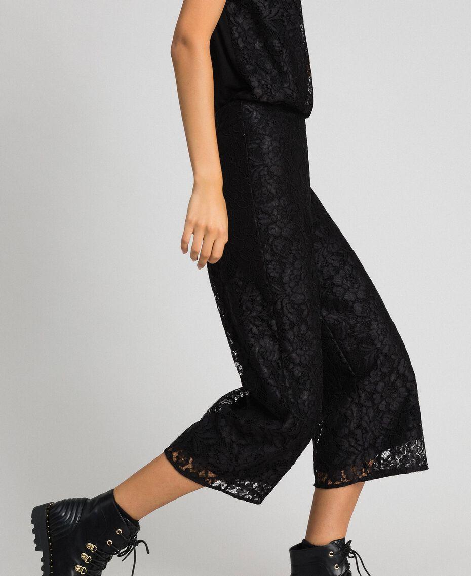 Укороченные брюки из кружева макраме Черный женщина 192MP2491-02