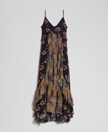 Slip dress with floral print Black Mixed Flowers Print Woman 192TT2144-0S