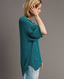 Pull oversize avec fentes Bleu Céramique Femme 191TT3150-02