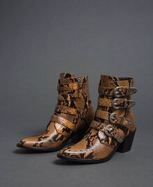 Leather Texas boots with animal print Brandy Python Print Woman 192TCT06E-01