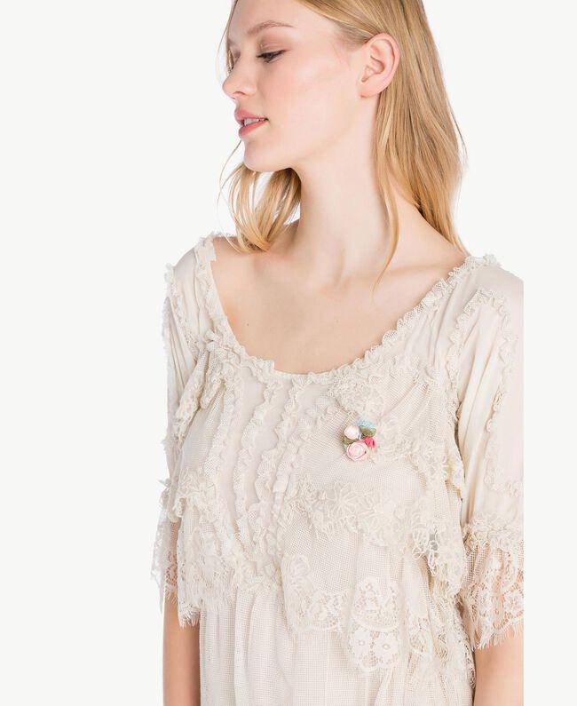 Kleid mit Spitze Calla-Weiß Frau PS826A-04