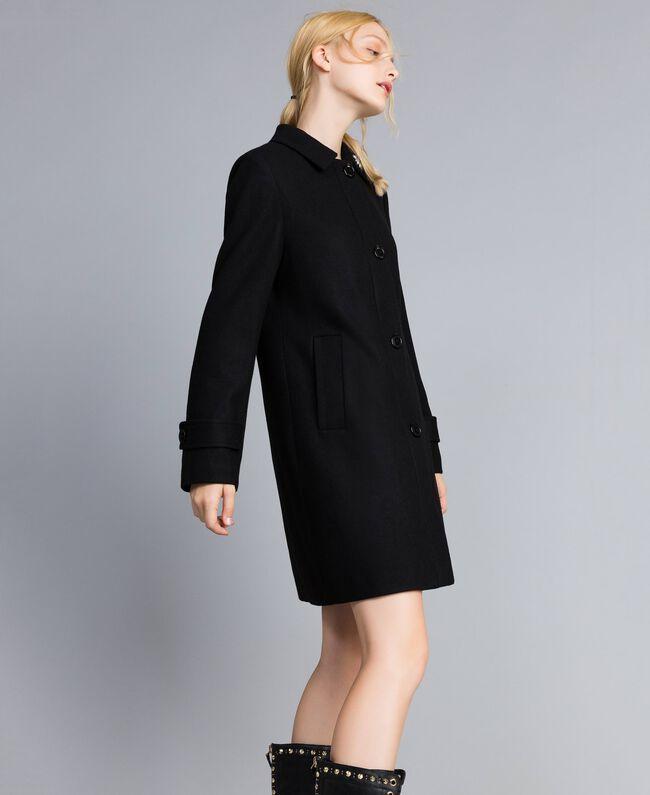 Manteau en drap avec broderie Noir Femme SA82RD-03