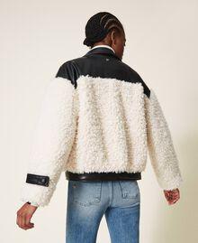 Faux fur bomber jacket Two-tone Black / Cloth White Woman 202MP2270-03