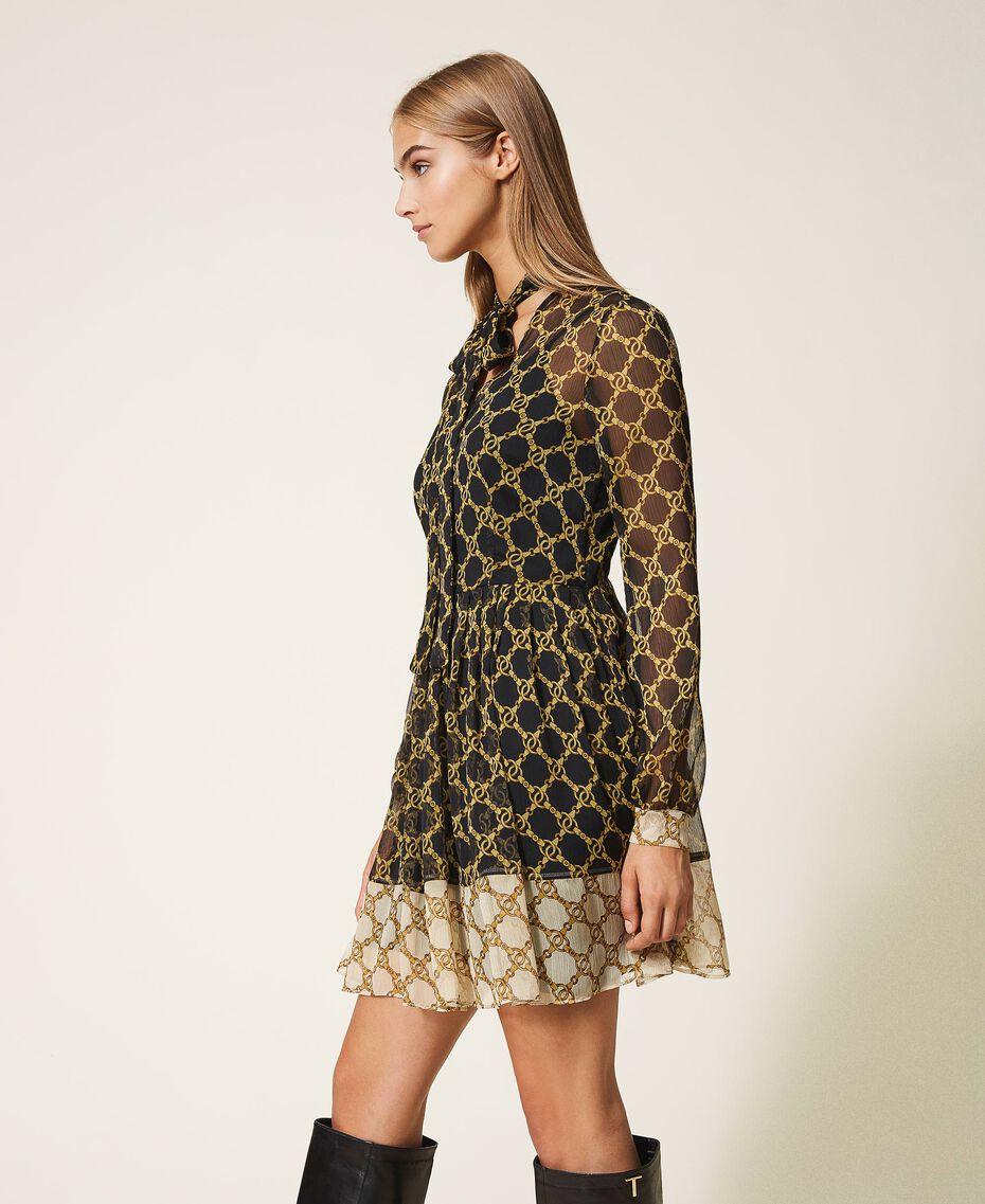 Robe en crépon avec imprimé de chaînes Imprimé Grande Chaîne Noir / Ivoire Femme 202TT221C-02