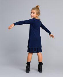 Strickkleid und Unterkleid aus Jersey Blackout Blau Kind GA83B2-03