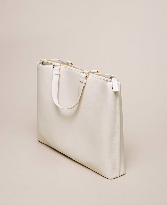 Большая кожаная сумка-шоппер с сердцем Белый Снег женщина 201TA7052-04