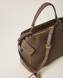 Large faux leather New Cécile bag Turtledove Woman 202TB7180-04