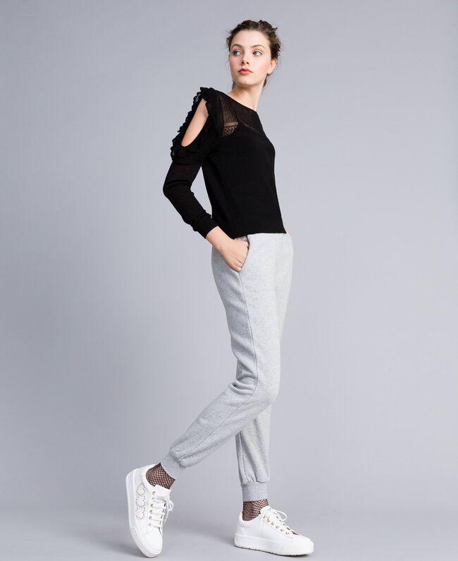 Pantalón jogger de felpa Gris Mélangé Mujer PA82CE-01