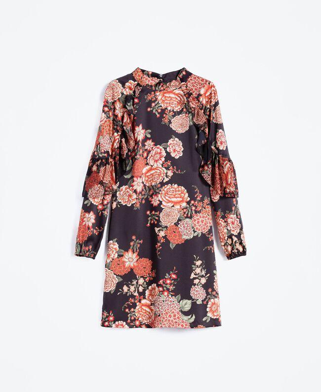Robe en twill avec imprimé floral Imprimé Noir Fleur Femme LA8KSS-01