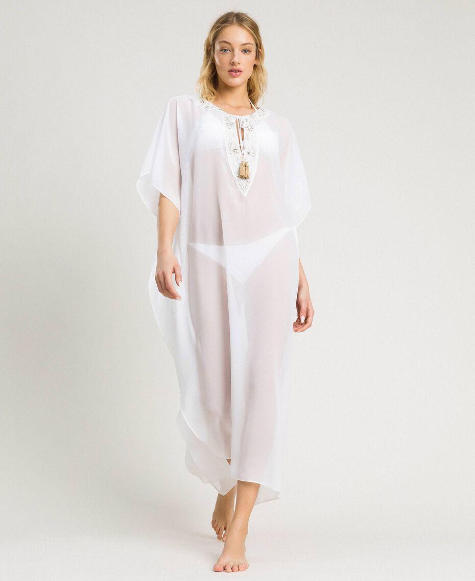 Long chiffon kaftan White Woman 191LM2BEE-02