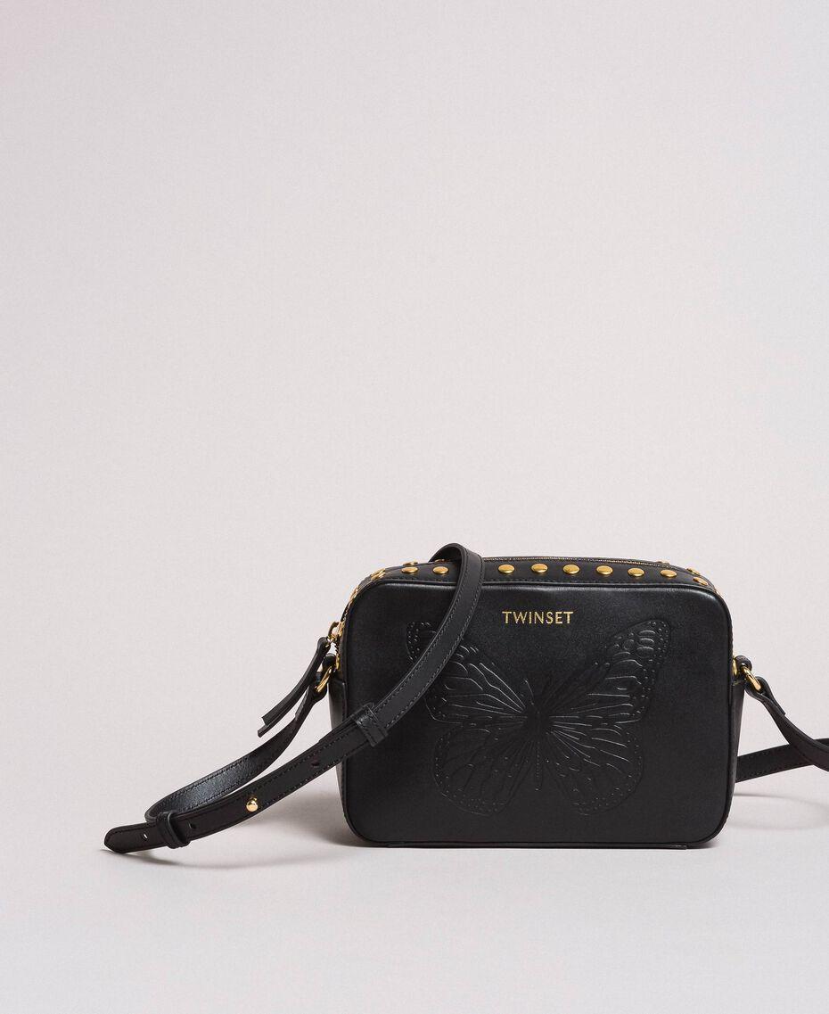 Umhängetasche aus Leder mit Nieten Schwarz Frau 191TO8262-02