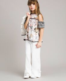 Floral viscose top with lace print Ramage Butterfly Print Child 191GJ2521-0S
